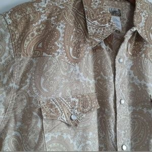 Express Rider Paisley Tan Brown Western Shirt  LRG